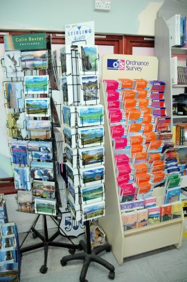 The Spar Shop in Lochcarron sells Ordnance Survey maps, local guides and walks' books and souvenir books .